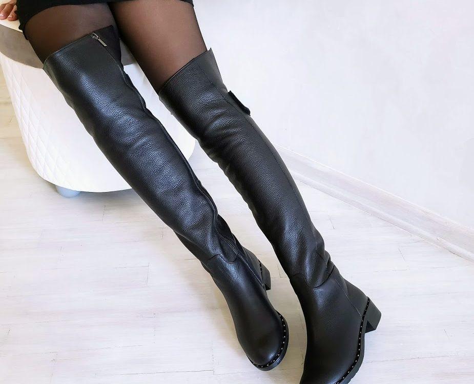 Черные кожаные высокие сапоги Luxury